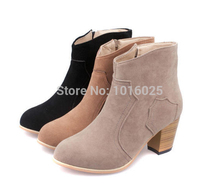 Autumn winter short cylinder boots high heels shoes Martin women ankle thick scrub size 35 -39 - Czzz store