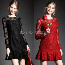 2015 Fashion Women Clothing  Long-sleeve fish tail slim hip  Elegant Summer Dress Party Dresses Plus size L XL O-Neck Red