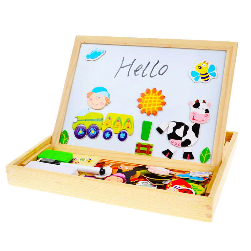 Arpa Multifunctional Wooden Toys Educational Magnetic Puzzle Farm Jungle Animal Children Kids Jigsaw Baby Drawing Easel Board(China (Mainland))