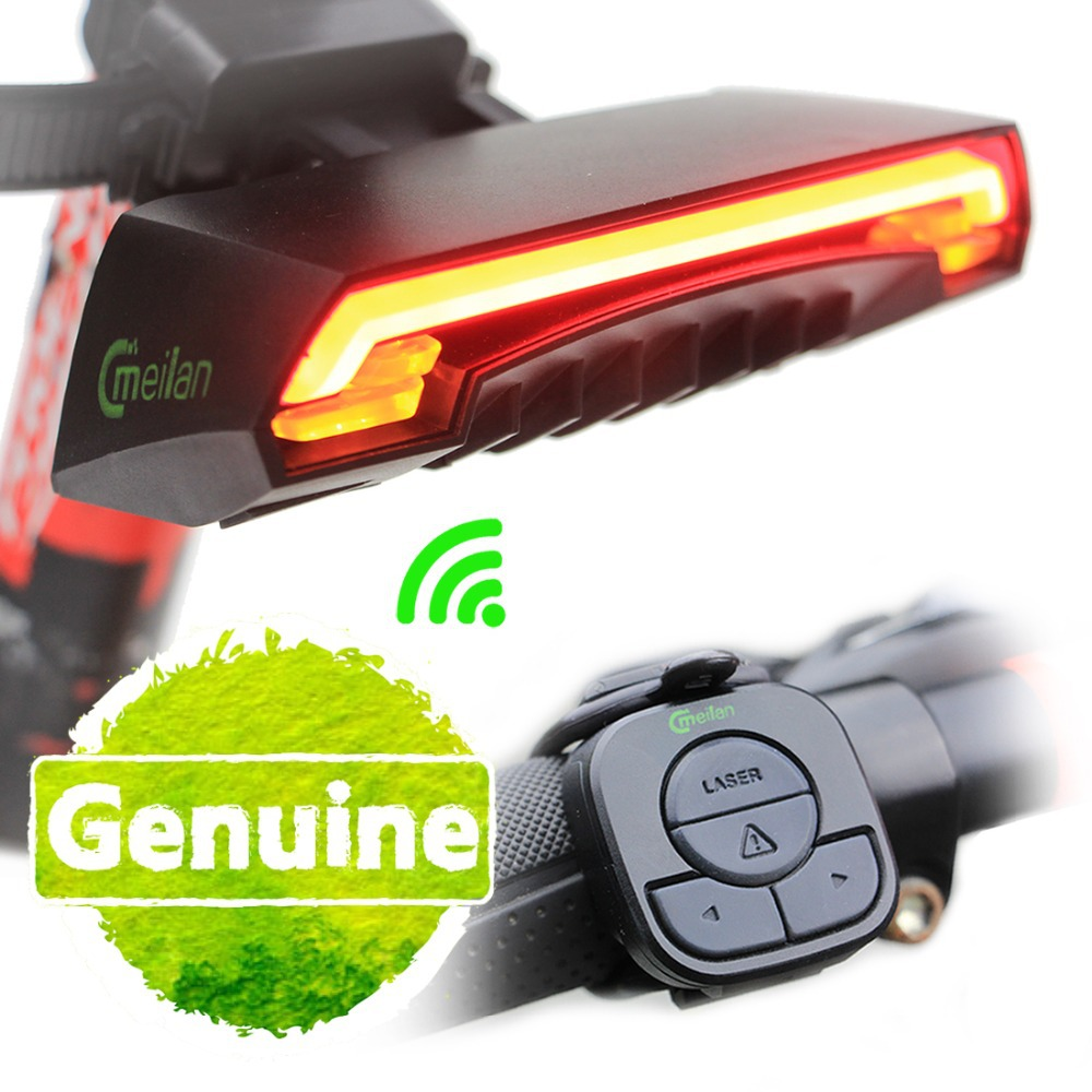 Meilan Smart Rear Bike Light Bicycle Remote Wireless Light Turn Signal LED Laser Beam USB Chargeable Cycling Tail Light(China (Mainland))