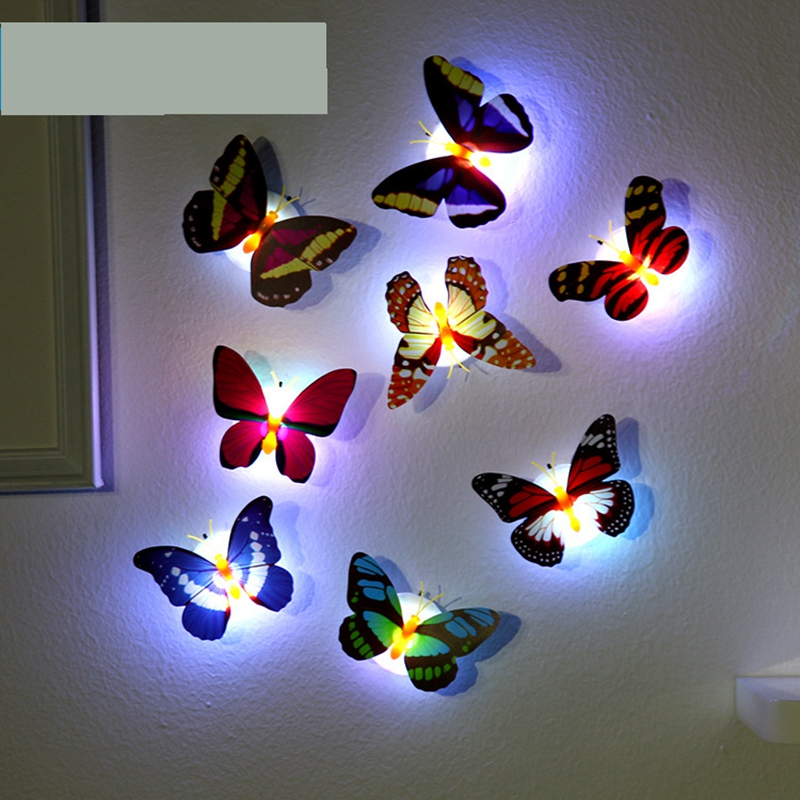 LED night light with butterfly shape sticker on wall colorful decoration infant bed-lighting plastic romantic bedroom lamp(China (Mainland))