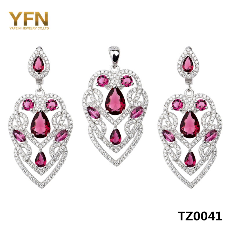 TZ0041 Women Accessories Genuine 925 Sterling Silver Set Pink Cubic Zirconia Earrings Pendant Bridal Jewelry Set For Wedding(China (Mainland))