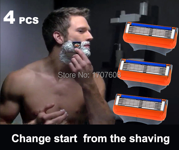 [4pcs/pack] high Quality Blade fit gilett 100% original power shaving razor blades for men Standard for US&RU&Euro(China (Mainland))