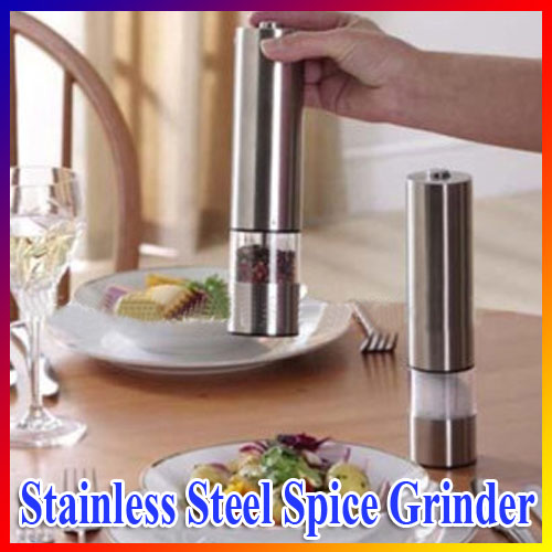 CE Certificated Stainless Steel Electric Salt Pepper Mill Spice Grinder Muller Kitchen Tool With Light for hotel Home restaurant(China (Mainland))