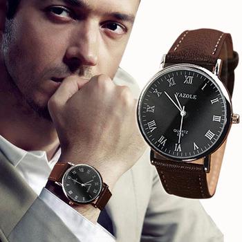 Мужские качественные наручные кварцевые часы с ремешком из ПУ кожи 2015