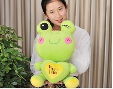 middle lovely plush green cartoon frogs toy soft cute frog doll with heart about 60cm