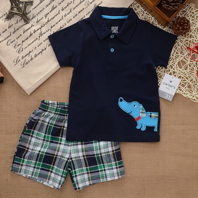 Carter Brand,new 2014,summer,clothing set,newborn,baby boy clothes,baby wear,kids clothes sets,t-shirt+pants suit<br><br>Aliexpress