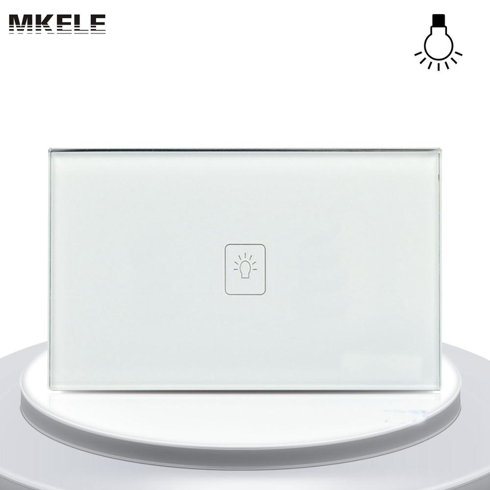 Sensor Switch Touch Dimmer Switch US Standard Dimmer Touch Sensor Switche 1 Gang 1 Way White Glass Panel+LED Wall Light(China (Mainland))