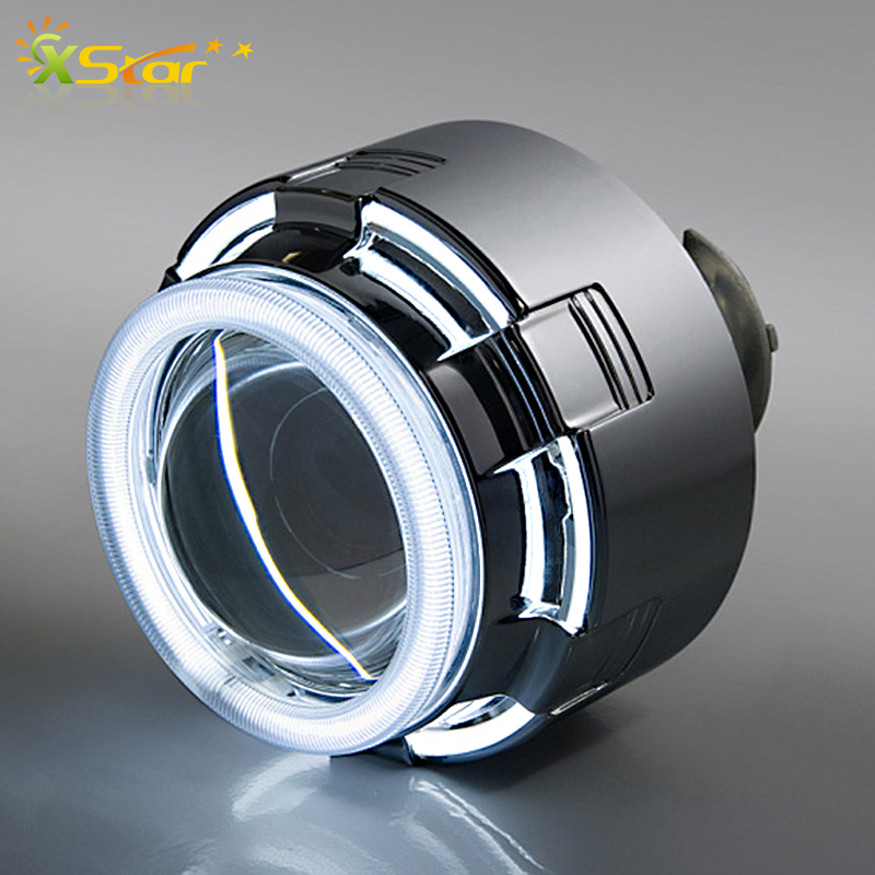 "LHD 12C 3.0"" inch 35W HID Bixenon Projector Lenses Angel eyes Autocar CCFL Eyes Headlight 6000K White Blue Red Without Ballast(China (Mainland))"
