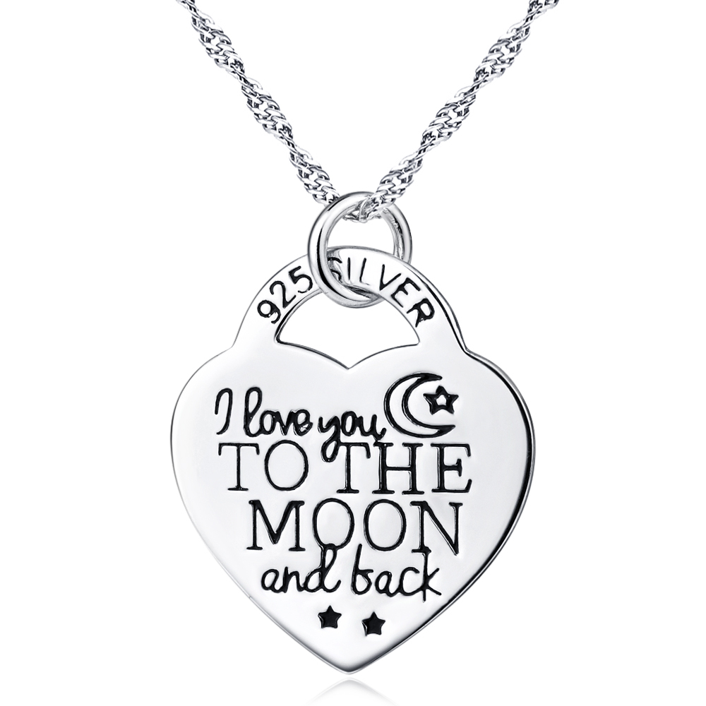 GNX0402 925 Sterling Silver Jewelry Women Pendant Necklace I Love You to The Moon and Back Necklace in Heart Shape(China (Mainland))