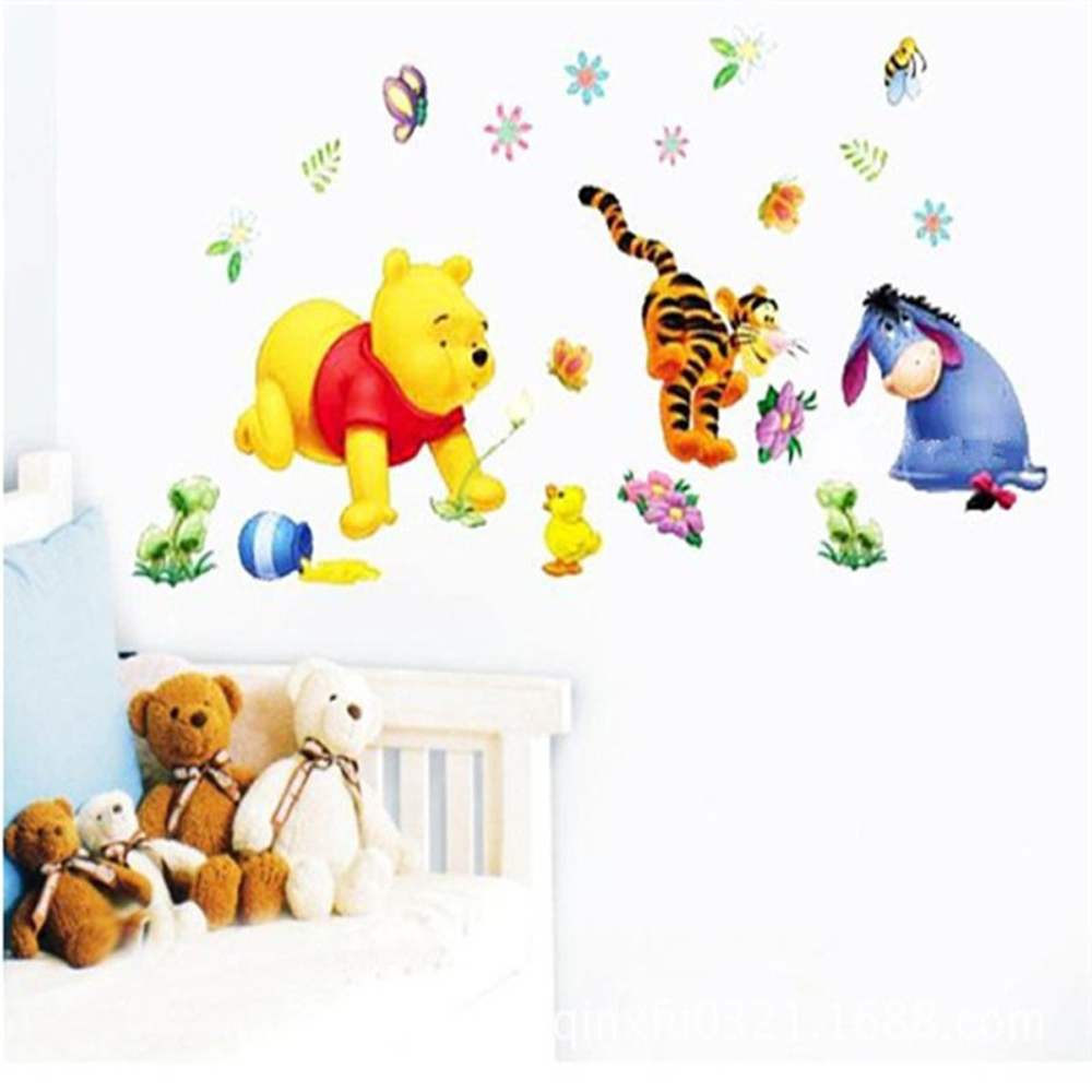 Kids bedroom 3D winnie the pooh wall stickers removable diy nursery wall decals home decor baby room wall pictures