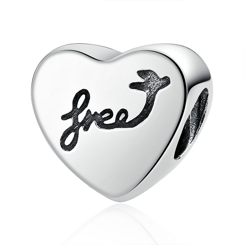 Heart Beads With Black Words For Jewelry Making Charm Pandora 925 Sterling Silver Original Beads BM-103(China (Mainland))