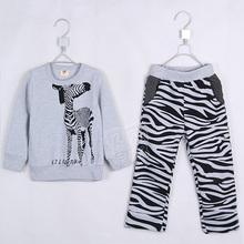 2015 autumn and winter boys girls clothing set child casual fleece set Zebra pattern clothing sets A0026(China (Mainland))