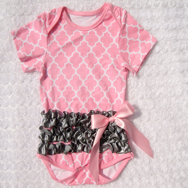 Cute fashion 10 pieces/lot pink newborn baby child cotton bodysuit short sleeve brown ruffle belt ribbon bow little girls romper<br><br>Aliexpress