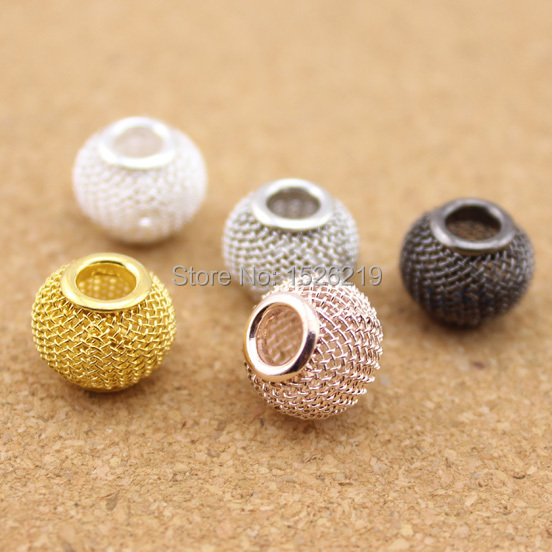 10pcs/lot Gold /Silver/ Rose Gold/Rhodium/ Gunmetal Big Hole Hollow Out Metal Spacer Beads Chunky DIY Jewelry F1143A(China (Mainland))