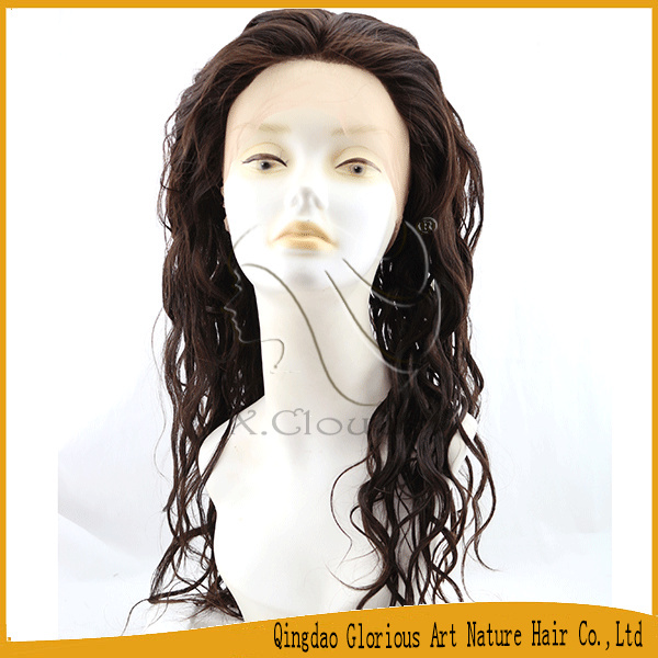 New Style Hot Sale Unprocessed Human Hair water wave remy lace front wig(China (Mainland))