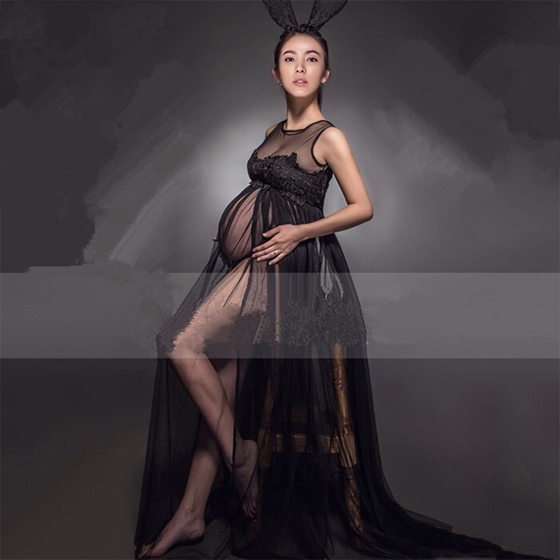 2016 Fancy Pregnancy Photo Photography Props Black Maternity Lace Gown Trailing Dresses For Pregnant Studio Clothing Dress<br><br>Aliexpress