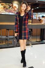 2016 spring new woolen coat Girls long paragraph Slim plaid hooded double-sided wool coat Women