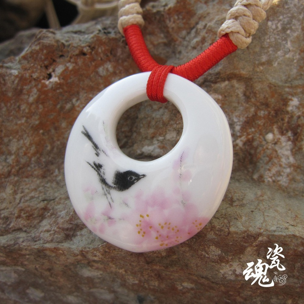 Jingdezhen porcelain ceramic jewelry national wind pastel lovebirds soul song factory direct jewelry necklace(China (Mainland))