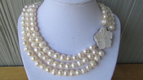 White Pearl 3 Rows Necklace,Weddings.Gift,Bridal Gif(China (Mainland))