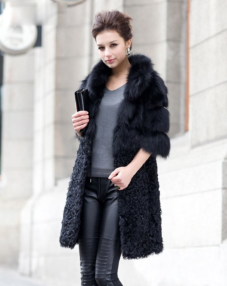 Здесь можно купить  New Women Fashion Genuine Fox Fur Coat &lamb fur Ladies