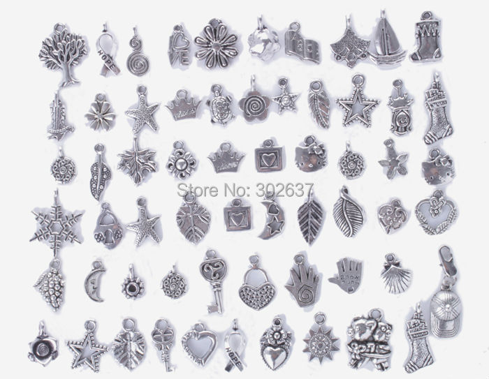 FREE SHIPPING 60PCS Mixed Jewelry Making Antiqued Silver Charm Pendants #24973<br><br>Aliexpress