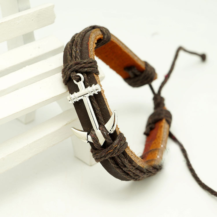 Leather Braided Rope Wristband men bracelets bangles hand woven Fashion Jewelry