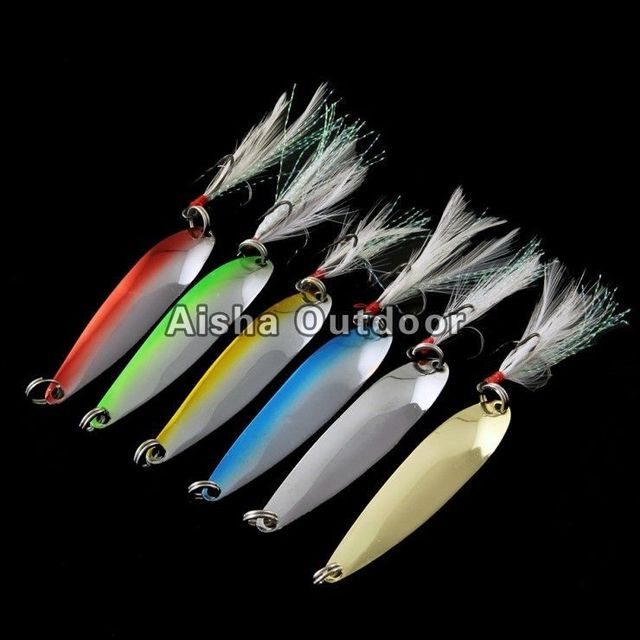10pcs/lot 9g Copper Fishing Spoon Hard Lure With Feather Treble Hooks Mix Color