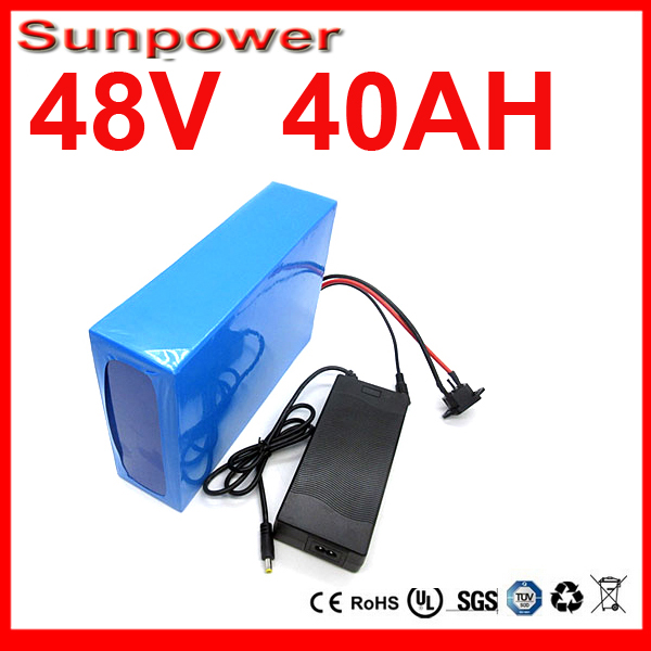 Ebike Battery 48v 40Ah 2000W Electric Bike Battery 48V with 2A Charger,BMS Lithium Battery 48V Battery Pack UPS Free Shipping(China (Mainland))