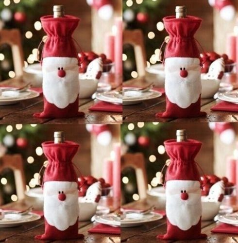 Newest Popular 1 Pcs Xmas Santa Claus Wine Bottle Cover Christmas Dinner Party Table Decoration Free Shipping(China (Mainland))