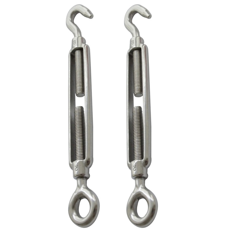 304 Fasten Bolts Hook & Eye Turnbuckle Stainless Steel Wire Rope Tension M8 High Quality(China (Mainland))