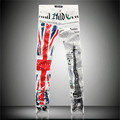 2016 new fashion casual white jeans male British flag Eiffel Tower in Paris fashion printed men