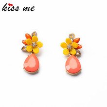 KISS ME Jewelry 2014 Graceful Pink Water Drop Yellow Resin Flower Earrings for Women Fashion Drop Earrings Accessories(China (Mainland))