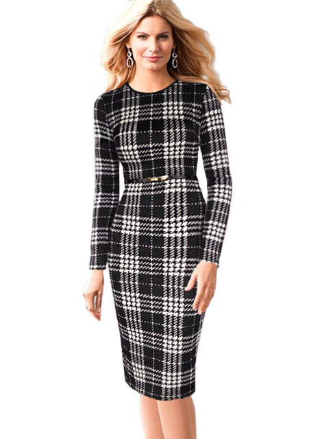 Women Autumn Winter Long Sleeve Vintage Plaid Colorblock Belted Slim Business Casual Work Party Bodycon Sheath Pencil Dress CG91(China (Mainland))