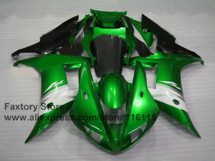 Cheap Motorcycle 100% Full injection fairings kit for YAMAHA 2002 YZF R1 2003 R1 02 03 green white fairing set(China (Mainland))