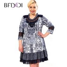 BFDADI 2016 новые женские летние платья свободного покроя ретро печать кружева платье для вечеринка свадебные платья Большой размер 5xl 6xl бесплатная доставка 6807(China (Mainland))