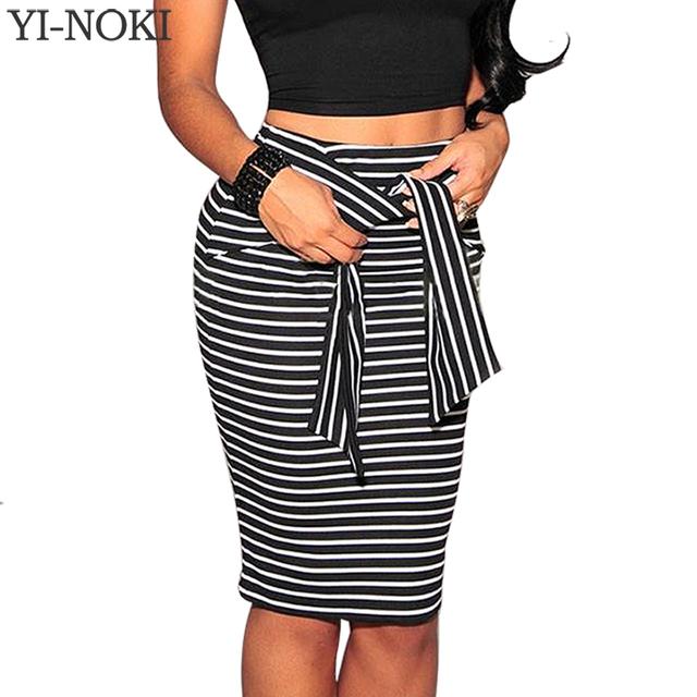 YI-NOKI Бренд юбки Женская Мода Высокая Талия Полоса Шнуровка юбка,плюс Размер Белый И Черный Сексуальный юбка карандаш школьная форма для девочек кружево юбка женская