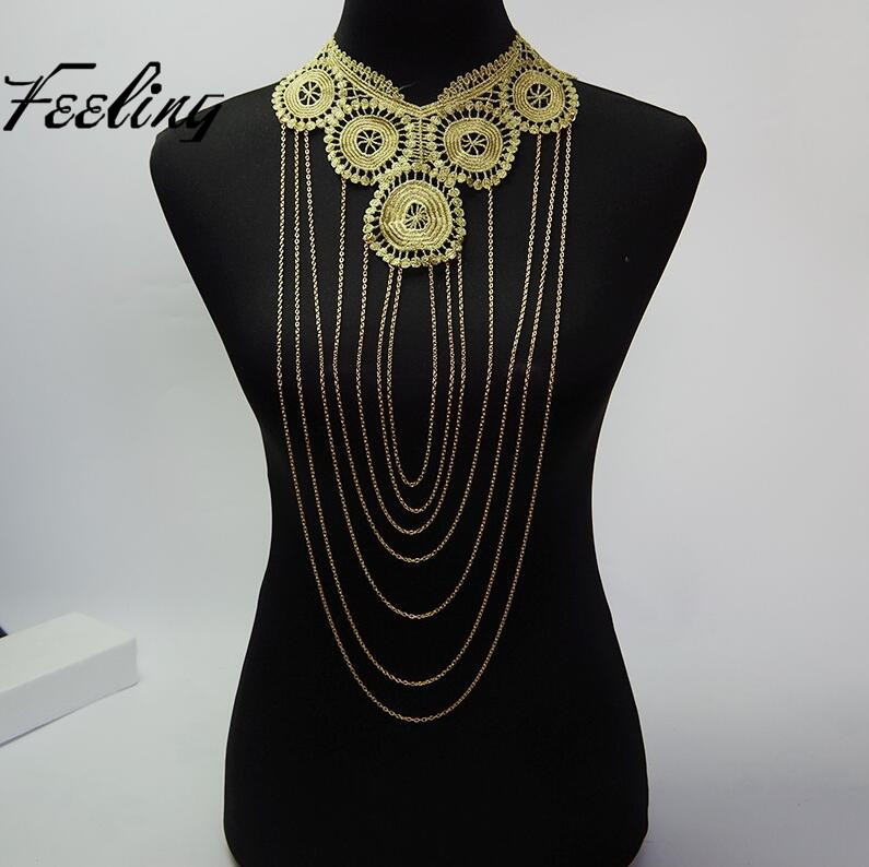 Hollow Big Gothic Necklace Lace Crochet Collares Gold Body Chains Women Multilayer Chain Elegant Party Jewelry(China (Mainland))