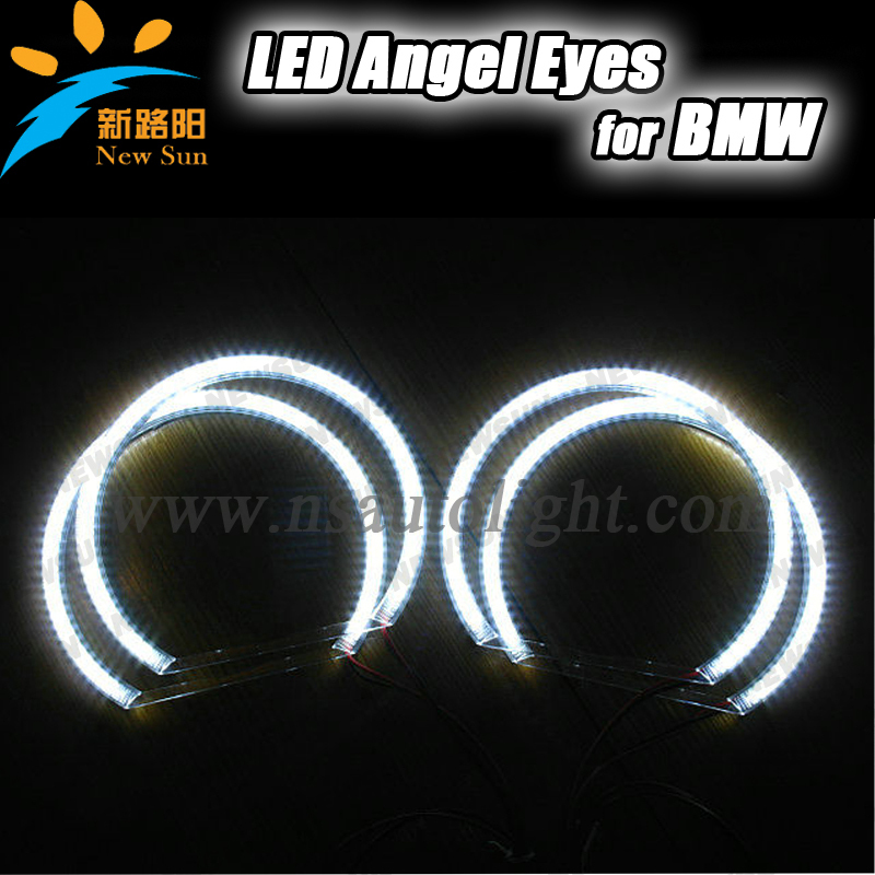 25W High Power 7000K Xenon White SMD LED Light Angel Eyes Halo Rings Kit For BMW E36 E38 E39 E46 with relay harness wire(China (Mainland))