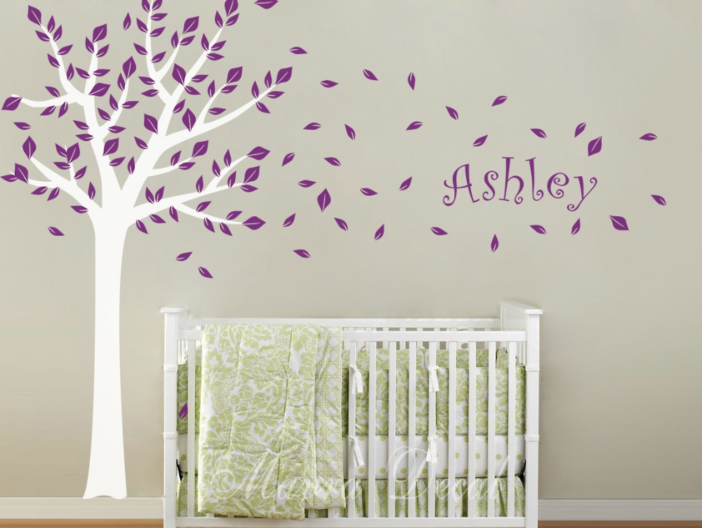 extra large 100cm x 180cm high tree and personalized name. Black Bedroom Furniture Sets. Home Design Ideas
