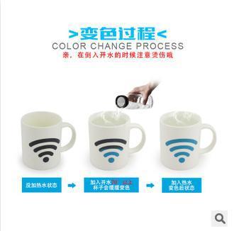 Ideas change color ceramic cup magic mug gift WIFI HOT traffic light color changing mugs(China (Mainland))