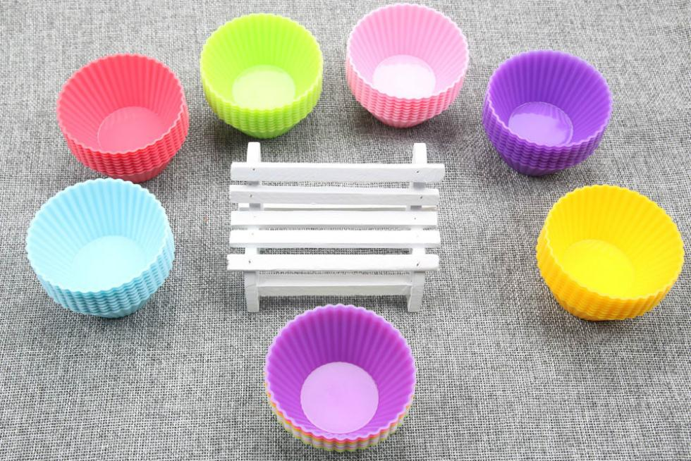 2015 New Arrival 6pcs Silicone Muffin Cases Cake Cupcake Mini Round Shape Liner Baking Mold Cake Decorating Tools(China (Mainland))