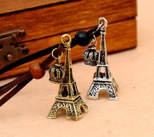 2015 NEW Vintage Eiffel Tower Crown Leather Cord Necklace Fashion Jewelry new vintage eiffel tower pendant necklace(China (Mainland))
