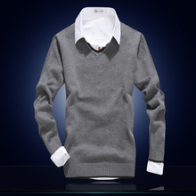 New fashion mens sweaters and pullovers discount men sweater brand v-neck 100% cotton pure color business casual men's clothing(China (Mainland))