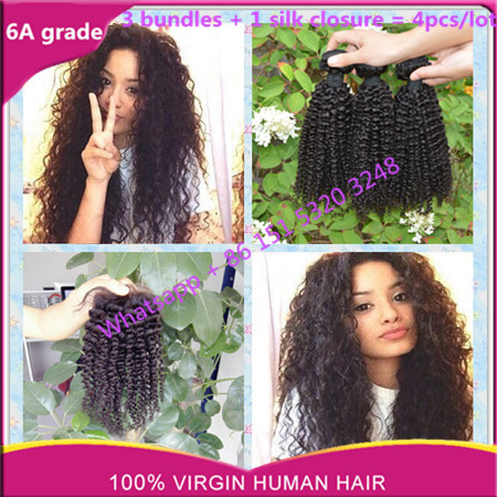 silk base closure with bundles grace hair extension with silk closure brazilian kinky curly with silk closure grace hair no shed
