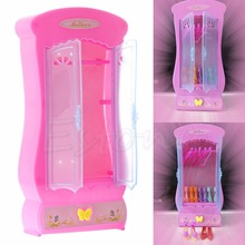 1Pc Pink Closet Wardrobe For Barbie Doll Girls Toy Princess Bedroom Furniture(China (Mainland))