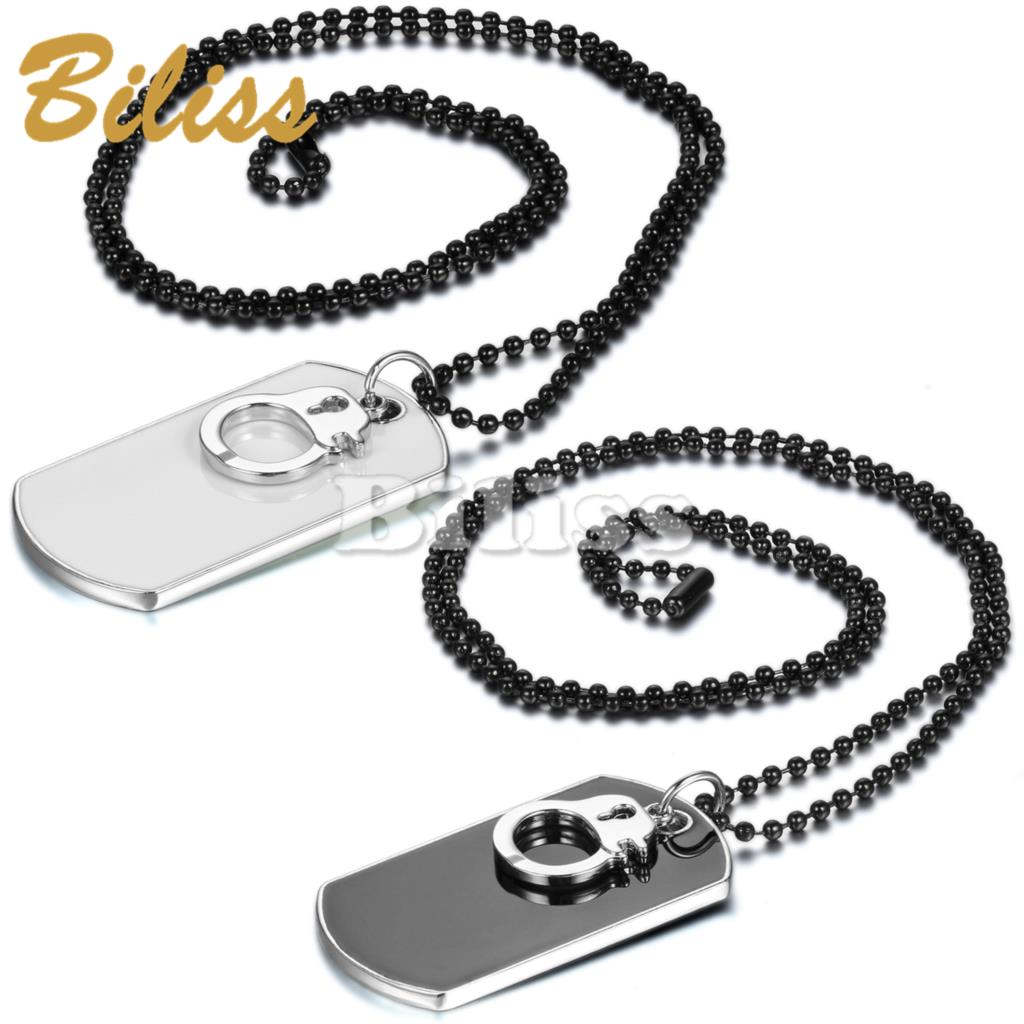 European American Fashion Dog Tag Pendant for Men with Handcuffs Cool Necklaces For Boys with Long Chain collares populares 2015(China (Mainland))