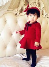 wholesale 5pcs/lot fall winter infant baby long sleeve woolen dresses new born girl wine red umbrella dress baby clothing(China (Mainland))