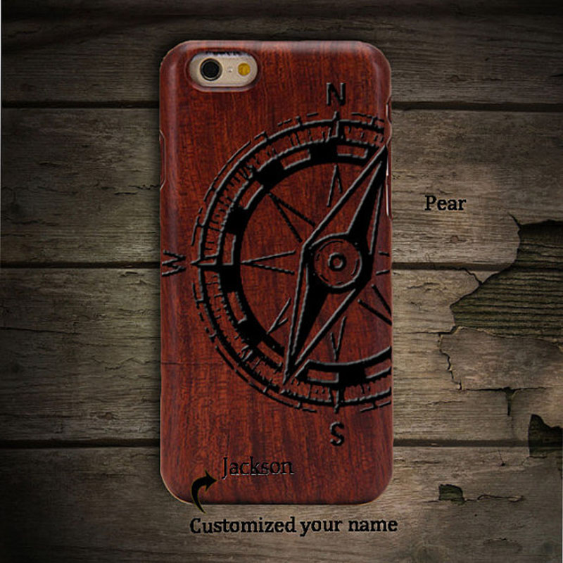 Ian compass High Quality Pear Wood Phone Case CoverFor iphoneSE Hard Back Cover Case Protector For iphone 6S plus(China (Mainland))