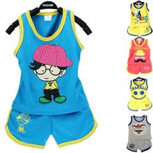 Buy 2016 summer children boys clothes cotton cartoon Kids Clothes girls clothes 0-3 year children clothing set vest Shorts 2pcs suit for $4.32 in AliExpress store